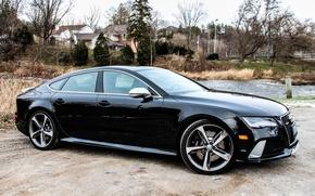 Обои вид, black, Audi, RS7, природа