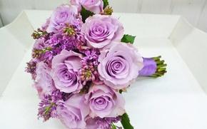 Картинка розы, букет, Rose, свадьба, сирень, сиреневые, bouquet, lilac