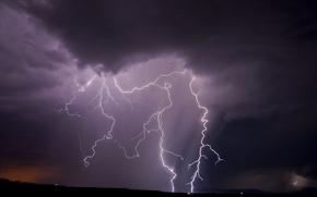 Картинка небо, ночь, природа, молния