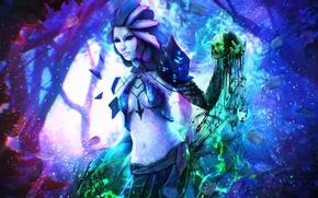 Картинка лес, девушка, череп, маг, Guild Wars 2, art, Necromancer, Sylvari, Kirei Wa