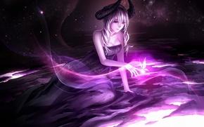 Обои арт, sasama keiji, девушка, демоница, рога
