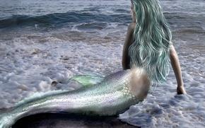 Картинка море, волны, девушка, фантастика, волосы, спина, русалка, руки, хвост