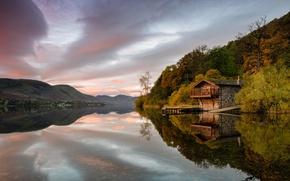 Картинка осень, озеро, домик