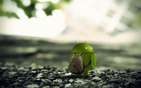 Картинка лес, андроид, рюкзак, android