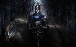 Картинка Dark Souls, арт, шлем, воин, волк, Knight Artorias, Artorias of the Abyss, броня, boss, artorias