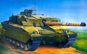Картинка war, art, painting, Challenger tank