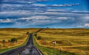 Обои дорога, поле, осень, небо, трава, холмы, простор, США, Небраска