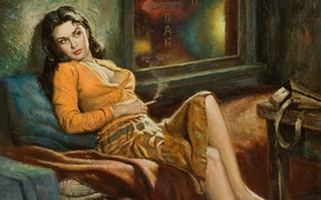 Картинка девушка, рисунок, картина, живопись, Art, Girls, Pin-Up, Paintings