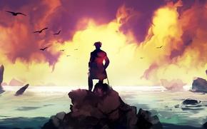 Картинка море, закат, человек, Dominik Mayer