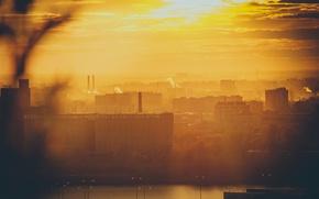 Картинка солнце, макро, закат, город, здание, здания, дома, силуэт, блик