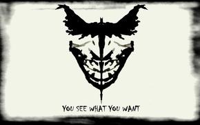 Картинка batman, white, black, joker, you, see, what, want
