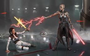 Картинка star wars, crossover, jack, mass effect, lightsaber, miranda lawson