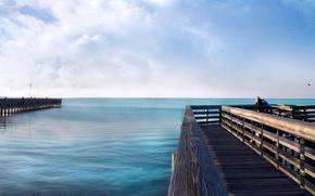 Обои море, горизонт, вода, Пирс, причал