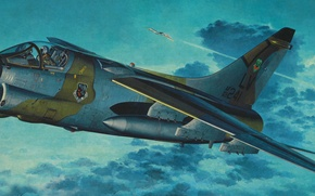 Картинка war, art, airplane, painting, jet, Vought A-7 Corsair II