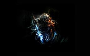 Картинка мультик, темно, аниме, мечи, воины