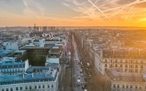 Обои город, эйфелева башня, париж, утро, франция, столица