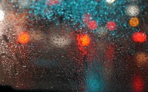 Картинка макро, блики, стекло, дождь, капли