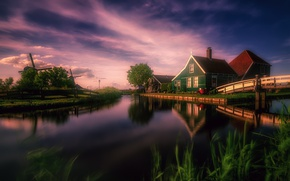 Картинка дома, канал, мельницы, Нидерланды, мостик, Голландия, Zaanse Schans