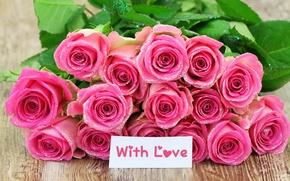 Картинка праздник, розы, блестки, розовые, Valentine`s day, с любовью, день Святого Валентина
