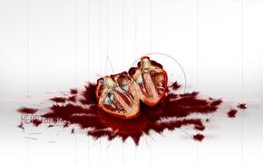 Обои кровь, разрез, Сердце