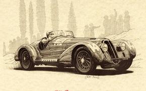 Картинка Рисунок, Арт, Art, Alfa, Romeo, 1938, Mille, Альфа, Ромео, Biondetti, Биондети, Гравюра, Miglia, Клементе, 2900, ...