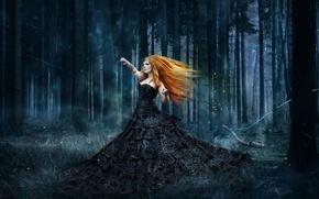 Картинка лес, девушка, стиль