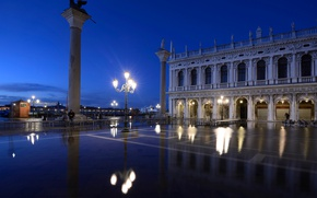 Картинка ночь, огни, отражение, Италия, фонарь, Венеция, пьяцетта, колонна Святого Марка, колонна святого Теодора