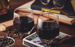 Картинка кофе, зерна, напиток
