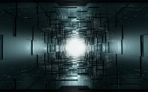Картинка свет, туннель, куб