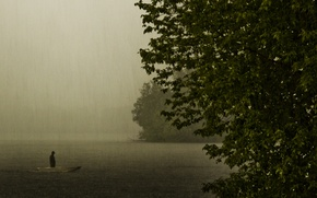 Картинка озеро, дождь, настроение, лодка, вечер