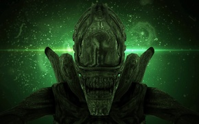 Картинка green, wallpaper, horror, acid, exoskeleton, monster, mecha, alien, Alien, science fiction, predator, sci-fi, liquid, movie, …