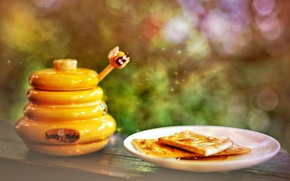 Картинка печенье, мед, тарелка, мёд, сладкое, боке