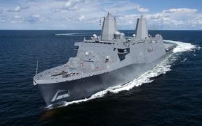 "Картинка море, типа, десантно, вертолетный, ""Сан-Антонио"", USS Somerset, корабль-док, (LPD-25)"