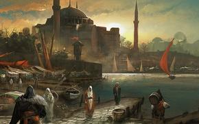 Обои город, рынок, assassin's creed, эцио, revelations, Port, Constantinople