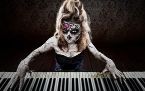 Картинка креатив, клавиши, Día de los Muertos, концерт в день мёртвых, музыка смерти