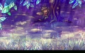 Картинка природа, пчела, дерево, фэнтези, девочка