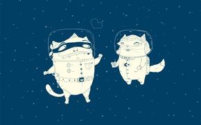 Обои кошаки, Скафандр, космонавт, 157, любовь