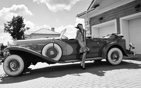 Картинка девушка, ретро, автомобиль, классика