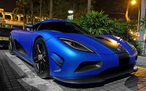 Картинка Koenigsegg, Blue, Night, Agera