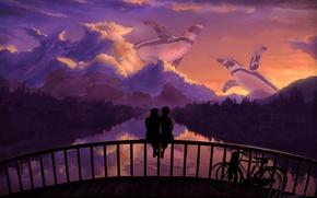 Обои велосипед, мост, отражение, арт, романтика, пингвины, деревья, любовь, пара, речка, небо, закат