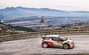 Картинка Дорога, Спорт, Машина, Вертолет, Ситроен, Citroen, DS3, WRC, Rally, Ралли, Sebastien Loeb