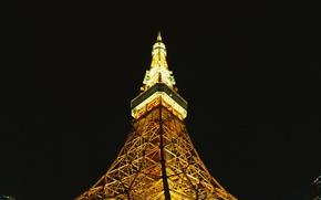 Обои ночь, подсветка, Эйфелева Башня