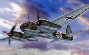 """Картинка war, art, painting, aviation, ww2, german airplane, Junker Ju 88T-1 """"Fernaufklarungsgruppe 123"""""""