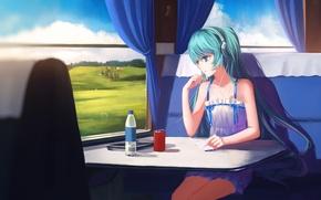 Картинка вода, девушка, пейзаж, поезд, аниме, наушники, арт, телефон, vocaloid, hatsune miku, sombernight