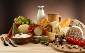 Картинка яйца, сыр, виноград, кувшин, помидоры, маслины, чеснок, творог, грецкие орехи