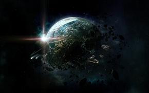 Картинка обломки, космос, звезда, планета, кольца, астероиды, арт, разрушение