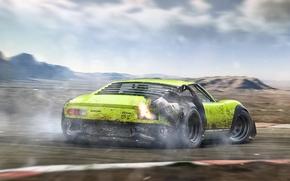 Картинка Lamborghini, Green, Miura, Tuning, Future, Rear, Drifting, by Khyzyl Saleem