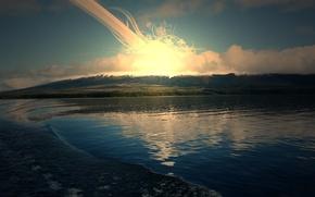 Обои солнце, озеро, восход