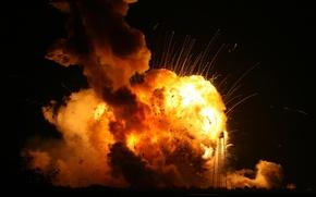 Картинка авария, пламя, катастрофа, Ракета, взлет, вызрыв