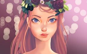 Картинка девушка, цветы, арт, венок, alexiafelix